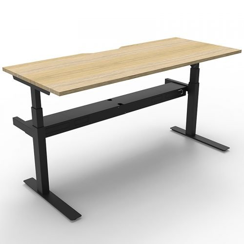 Cali Height Adjustable Single Sided Desk, Natural Oak Desk Top, Black Frame
