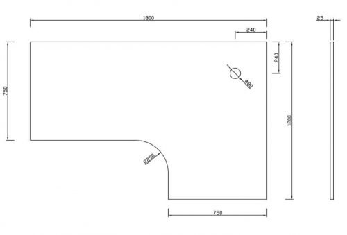 Corner Desk Top, 1800mm (LH) x 1200mm (RH) x 750mm Deep Wings
