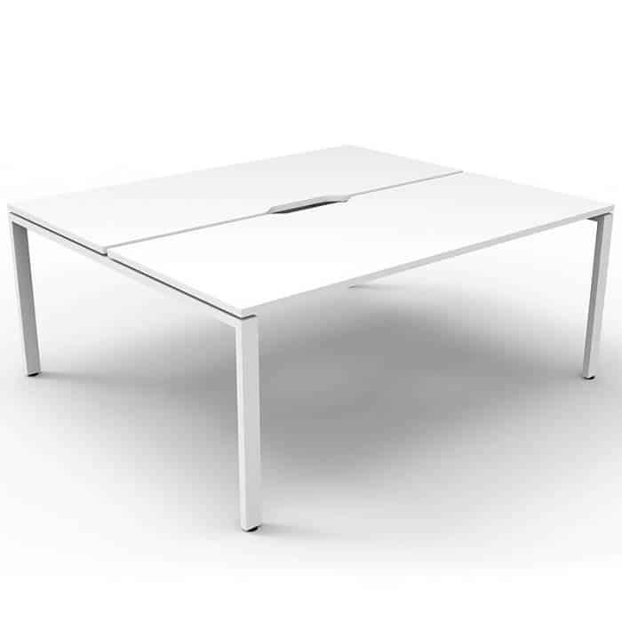 Elite 2-Way Desk Pod, Natural White Desk Tops, White Under Frame, No Screen Divider