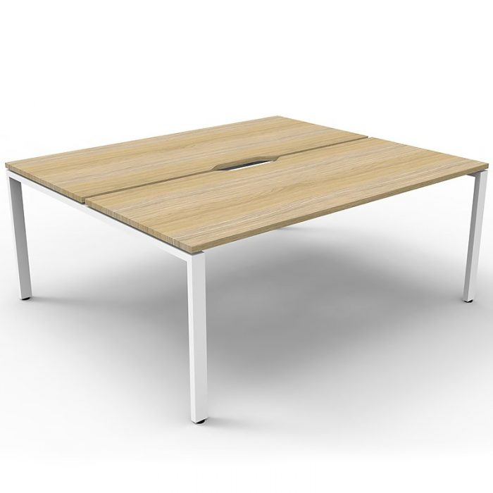 Elite 2-Way Desk Pod, Natural Oak Desk Tops, White Under Frame, No Screen Divider