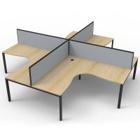 Elite 4-Way Corner Workstation, Natural Oak Desk Tops, Black Under Frames, with Grey Screen Dividers