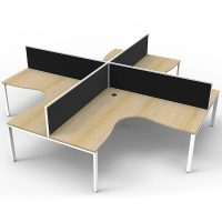 Elite 4-Way Corner Workstation, Natural Oak Desk Tops, White Under Frames, with Black Screen Dividers