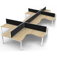 Elite 8-Way Corner Workstation, Natural Oak Desk Tops, White Under Frames, with Black Screen Dividers