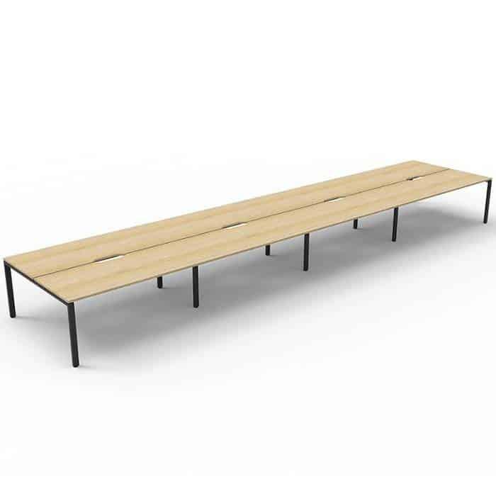 Elite 8-Way Desk Pod, Natural Oak Desk Tops, Black Under Frame, No Screen Dividers