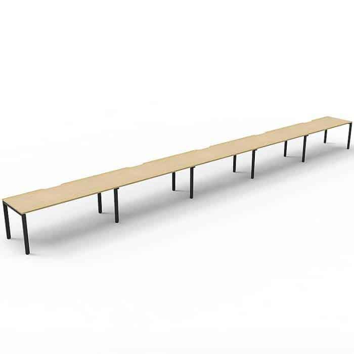 Elite Desk, 5 Person In-Line, Natural Oak Desk Tops, Black Under Frame, No Screen Dividers