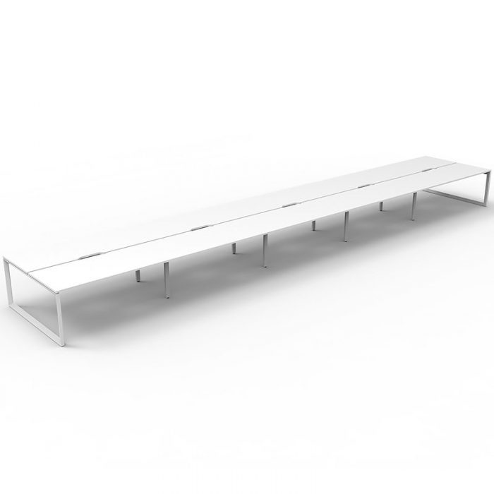 Elite Loop Leg 10-Way Desk Pod, Natural White Desk Tops, White Under Frame, No Screen Dividers
