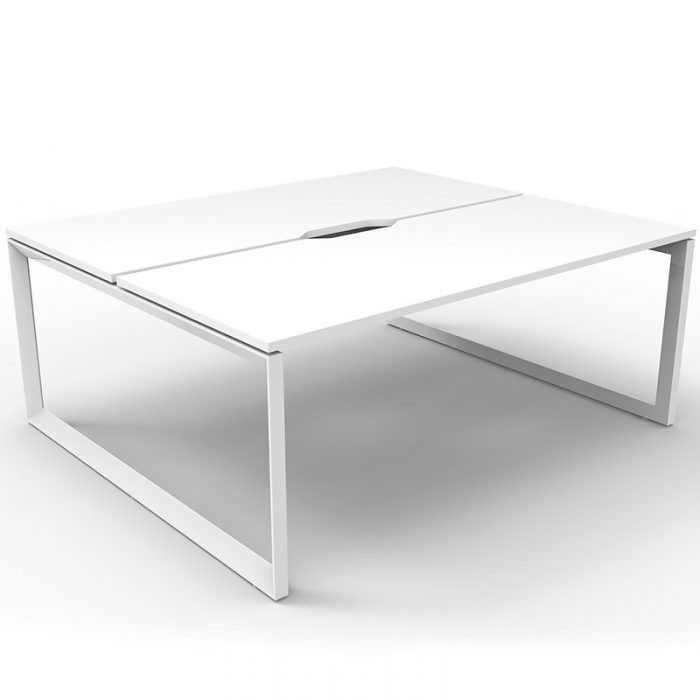 Elite Loop Leg 2-Way Desk Pod, Natural White Desk Tops, White Under Frame, No Screen Divider
