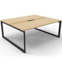 Elite Loop Leg 2-Way Desk Pod, Natural Oak Desk Tops, Black Under Frame, No Screen Divider