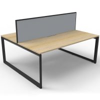 Elite Loop Leg 2-Way Desk Pod, Natural Oak Desk Tops, Black Under Frame, with Grey Screen Divider