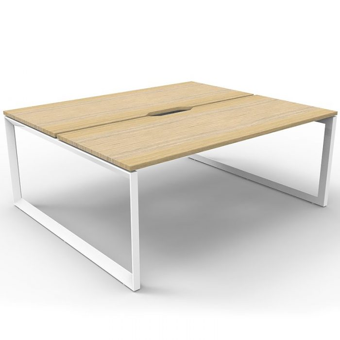 Elite Loop Leg 2-Way Desk Pod, Natural Oak Desk Tops, White Under Frame, No Screen Divider
