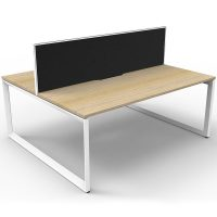 Elite Loop Leg 2-Way Desk Pod, Natural Oak Desk Tops, White Under Frame, with Black Screen Divider
