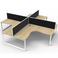 Elite Loop Leg 4-Way Corner Workstation, Natural Oak Desk Tops, White Under Frames, with Black Screen Dividers