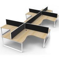 Elite Loop Leg 8-Way Corner Workstation, Natural Oak Desk Tops, White Under Frames, with Black Screen Dividers
