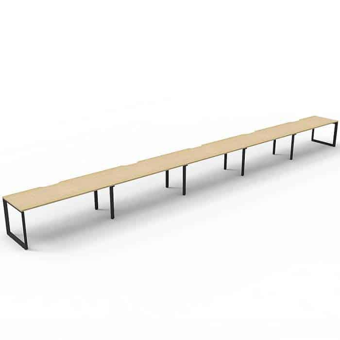 Elite Loop Leg Desk, 5 Person In-Line, Natural Oak Desk Tops, Black Under Frame, No Screen Dividers