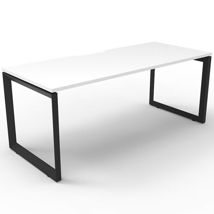 Elite Loop Leg Single Desk, Natural White Desk Top, Black Under Frame, No Screen Dividers