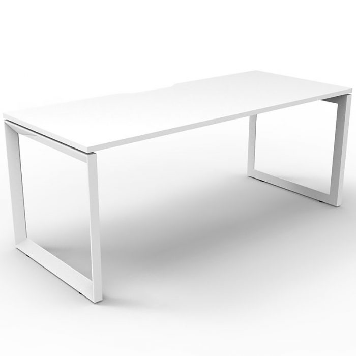 Elite Loop Leg Single Desk, Natural White Desk Top, White Under Frame, No Screen Dividers
