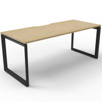 Elite Loop Leg Single Desk, Natural Oak Desk Top, Black Under Frame, No Screen Dividers