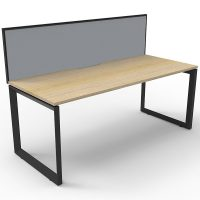 Elite Loop Leg Single Desk, Natural Oak Desk Top, Black Under Frame, with Grey Screen Divider