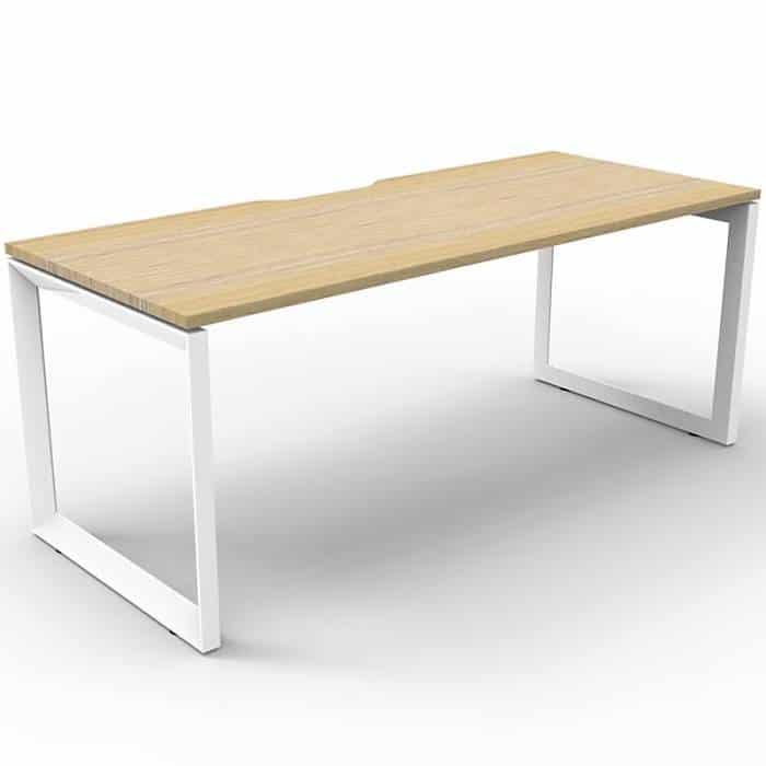 Elite Loop Leg Single Desk, Natural Oak Desk Top, White Under Frame, No Screen Dividers