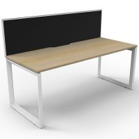 Elite Loop Leg Single Desk, Natural Oak Desk Top, White Under Frame, with Black Screen Divider