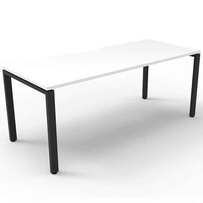 Elite Single Desk, Natural White Desk Top, Black Under Frame, No Screen Dividers