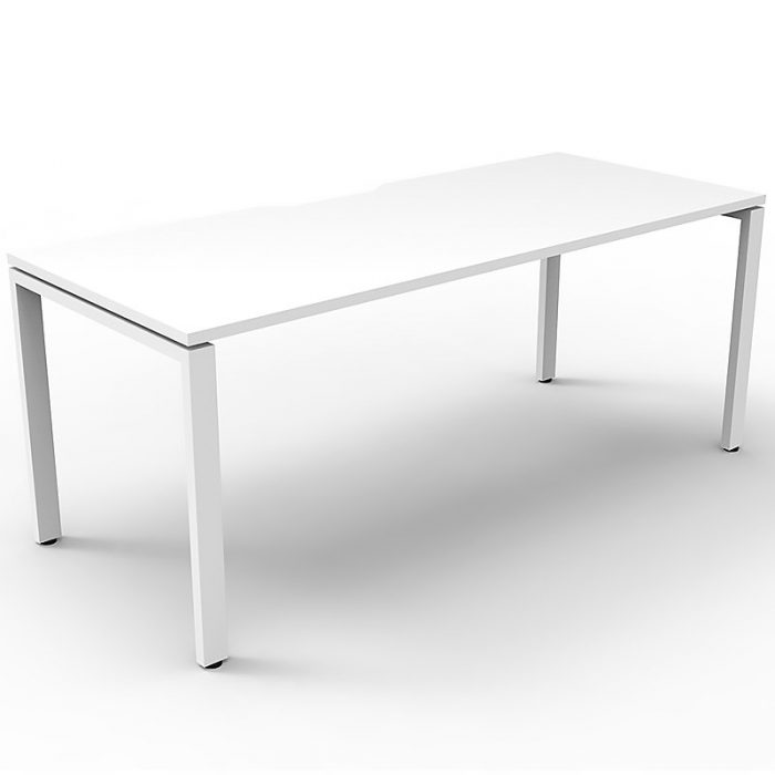 Elite Single Desk, Natural White Desk Top, White Under Frame, No Screen Dividers
