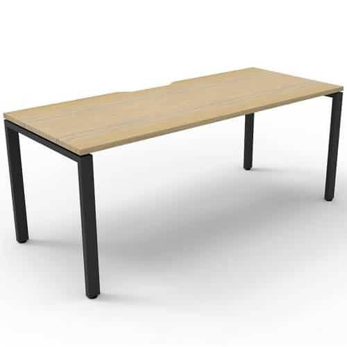 Elite Single Desk, Natural Oak Desk Top, Black Under Frame, No Screen Dividers