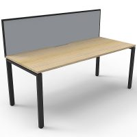 Elite Single Desk, Natural Oak Desk Top, Black Under Frame, with Grey Screen Divider