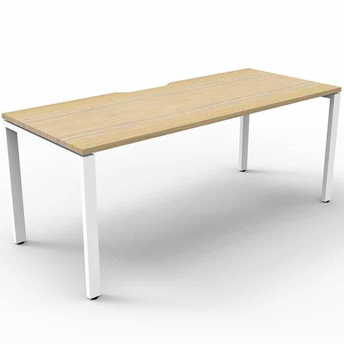Elite Single Desk, Natural Oak Desk Top, White Under Frame, No Screen Dividers