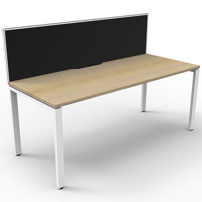 Elite Single Desk, Natural Oak Desk Top, White Under Frame, with Black Screen Divider