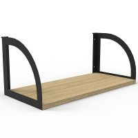 Integral Screen Hung Shelf, Black Brackets, Natural Oak Shelf