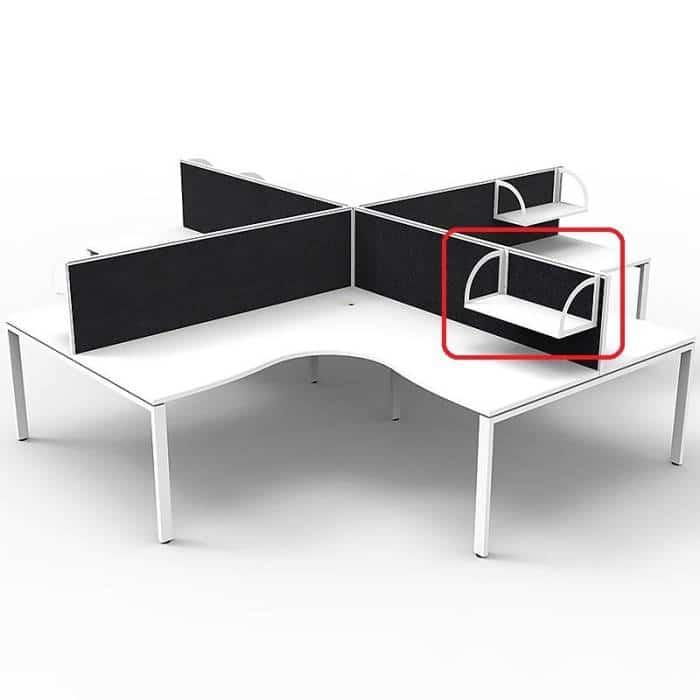 Optional Elite Screen Mounted Shelf, Natural White with White Brackets, Black Screens