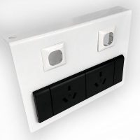 Energy Power and Data Bracket, White, 2 Power Outlets, Space for 2 Data Outlets
