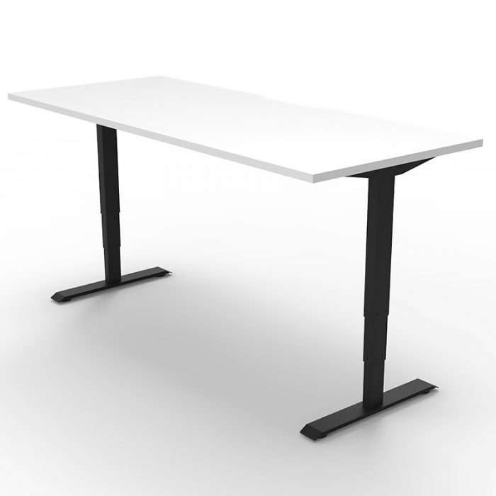 Flight Pro Electric Push Button Height Adjustable Sit Stand Desk, Natural White Desk Top, Black Under Frame