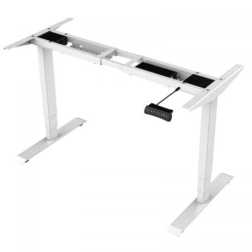 Flight Pro Electric Push Button Height Adjustable Sit Stand Desk, White Under Frame, No Desk Top