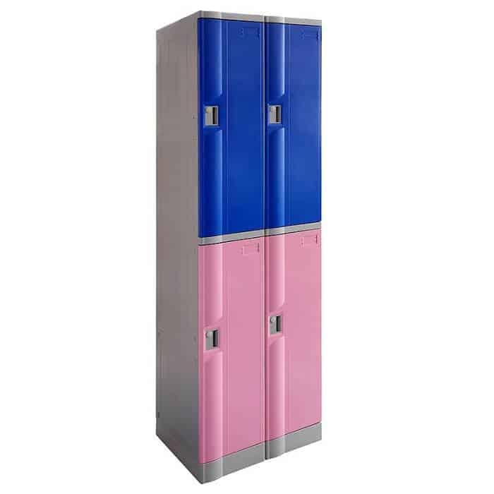 Smart ABS Plastic 2 x 2 Door Lockers, Blue and Pink Doors