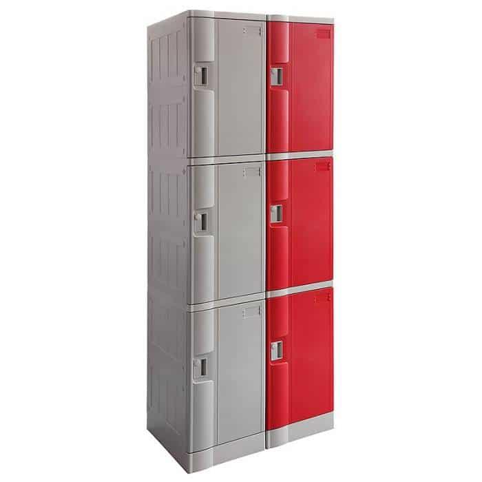 Smart ABS Plastic 2 x 3 Door Lockers, Grey and Red Doors