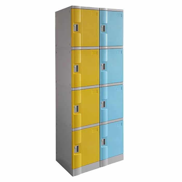 Smart ABS Plastic 2 x 4 Door Lockers, Yellow and Light Blue Doors