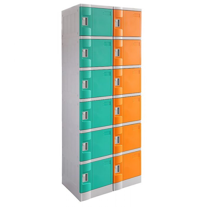 Smart ABS Plastic 2 x 6 Door Lockers, Green and Orange Doors