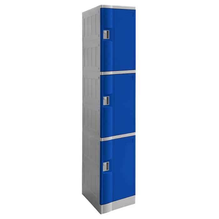 Smart ABS Plastic 3 Door Lockers, Blue Doors