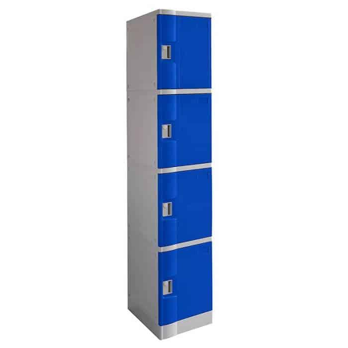 Smart ABS Plastic 4 Door Lockers, Blue Doors
