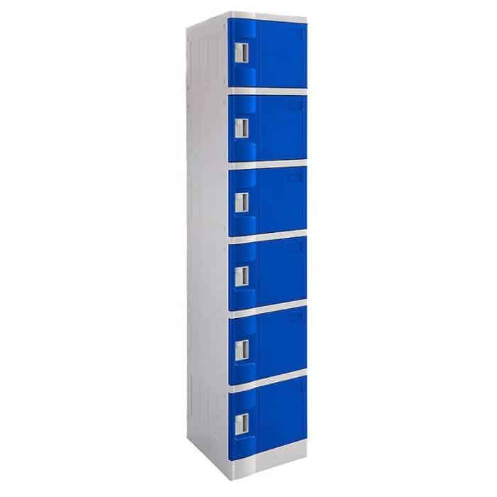 Smart ABS Plastic 6 Door Lockers, Blue Doors