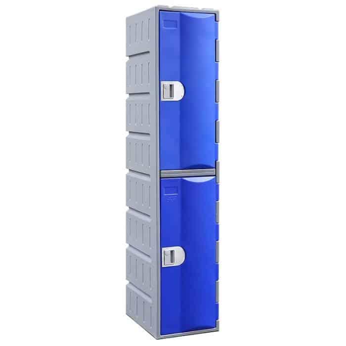 Smart Heavy Duty Plastic 2 Door Locker, Blue Door
