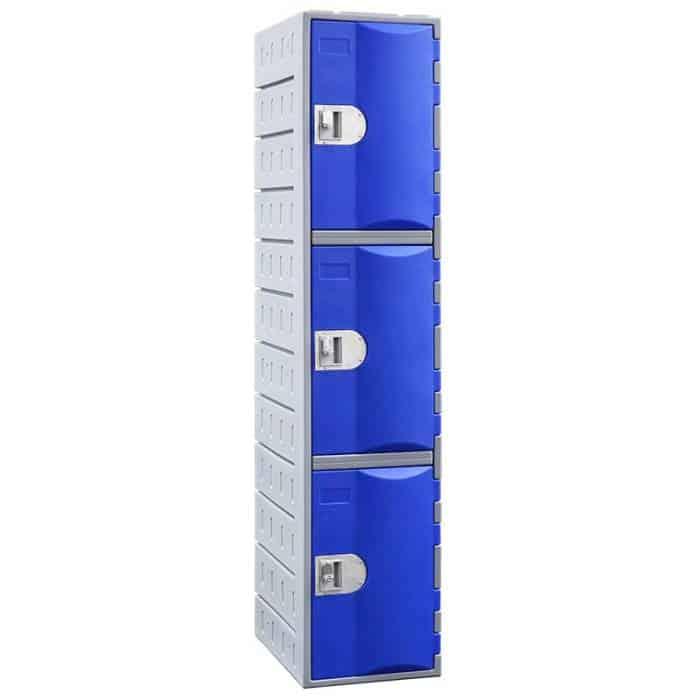Smart Heavy Duty Plastic 3 Door Locker, Blue Door