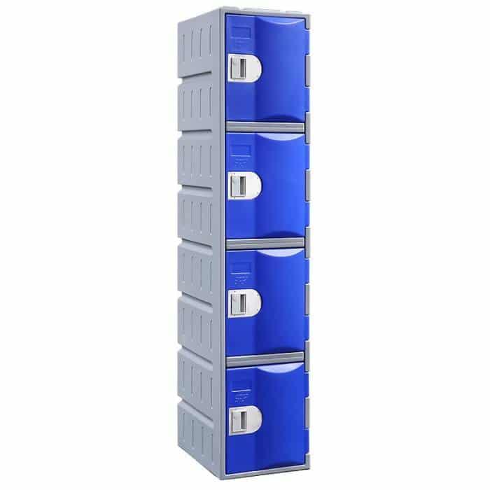 Smart Heavy Duty Plastic 4 Door Locker, Blue Door