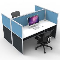 Space System Screen Hung Desk Tops, 2 Desks Back to Back, Blue Screens