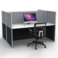 Space System Screen Hung Desk Tops, 2 Desks Back to Back, Grey Screens
