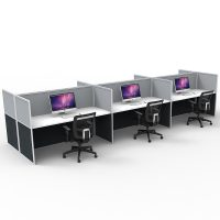 Space System Screen Hung Desk Tops, 6 Desks Back to Back, Grey Screens