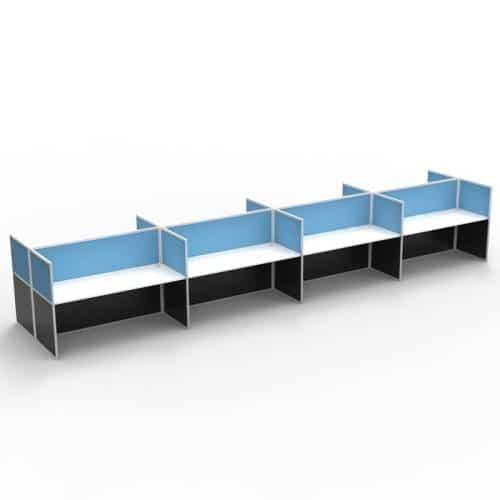 Space System Screen Hung Desk Tops, 8 Desks Back to Back, Blue Screens