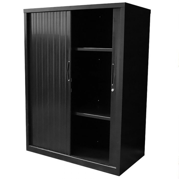 Black tambour cupboard